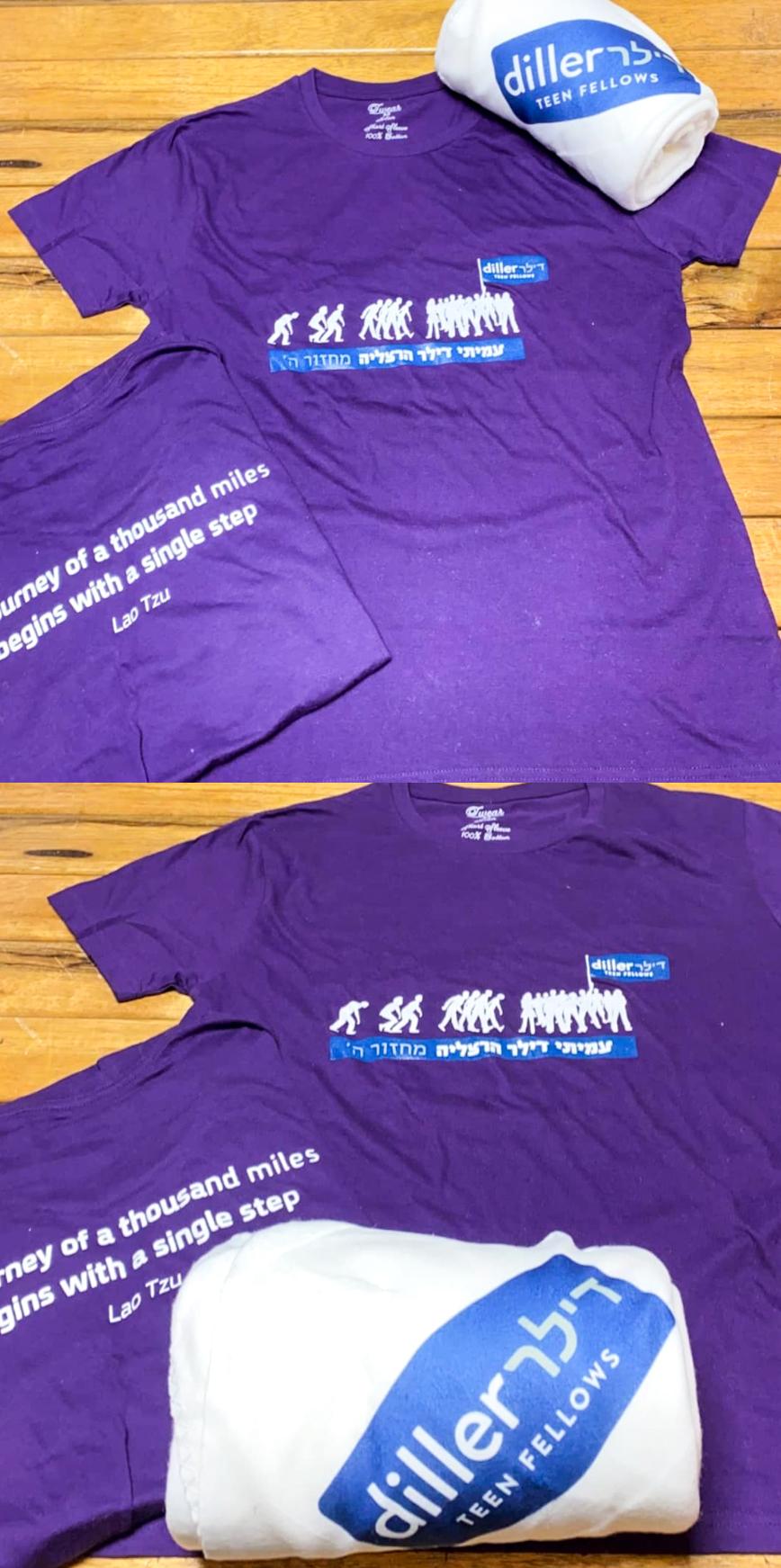 הדפסת משי ב-3 צבעים על חולצות סגולות והדפסה צבעונית על כירבולית עבור דילר הרצליה