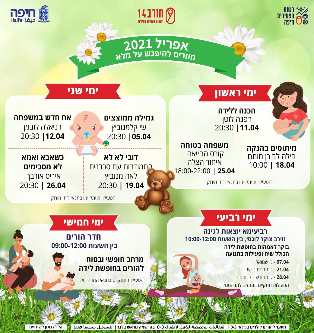 לוח אירועים חודש אפריל - רשות הצעירים חיפה