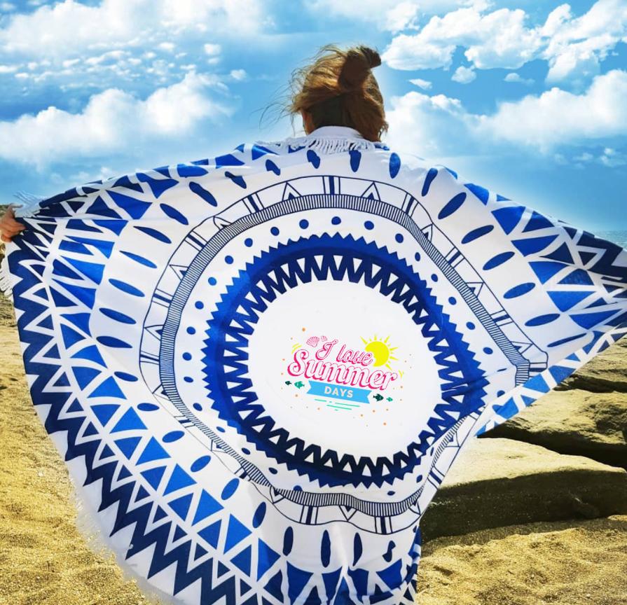 הדפסה צבעונית על מגבות חוף עגולות